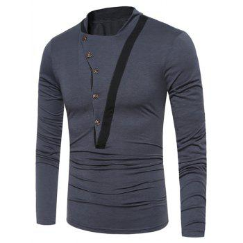Selvedge Embellished Irregular Buttons T-shirt