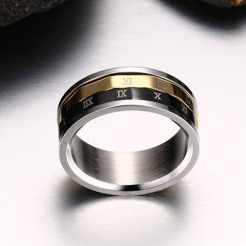 Engraved Roman Numeral Fidget Finger Ring - SILVER 9