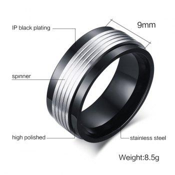 Stainless Steel Fidget Spinner Finger Ring - BLACK 7