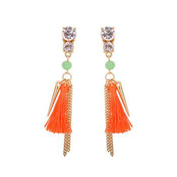 Rhinestone Resin Bead Fringed Tassel Earrings