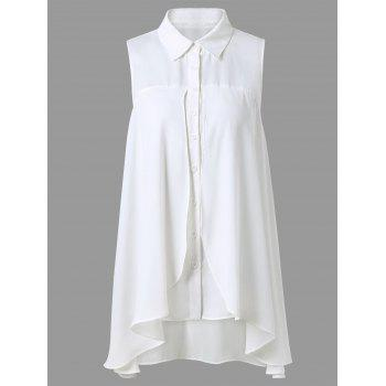 Asymmetrical Button Up Sleeveless Blouse