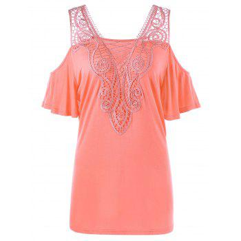 Plus Size Lace Panel Cold Shoulder Top