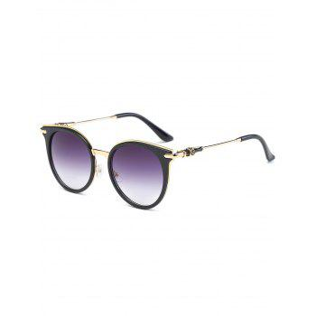 Metal Spliced Leg Cat Eye Round Sunglasses
