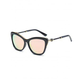 Metallic Inlay Frame Butterfly Shape Reflective Sunglasses
