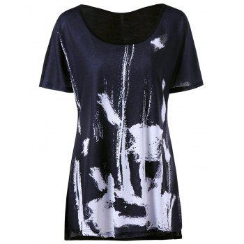 Plus Size Ink Painting Long T-shirt