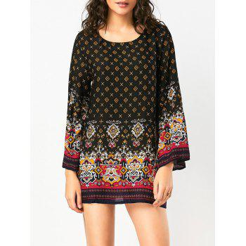Long Sleeve Bohemian Print Tunic Dress