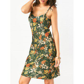 Open Back Slip Hawaiian Print Dress