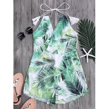 Halter Surplice Romper with Tropical Leaf Print
