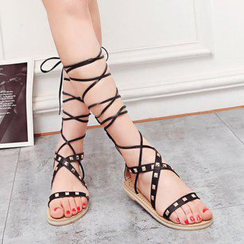 Tie Leg Rivet Gladiator Sandals