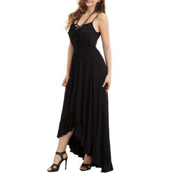 Lace-up High Low Ruffle Trim Slip Dress