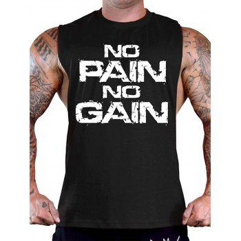No Pain No Gain Bodybuilding Tank Top - WHITE AND BLACK WHITE/BLACK