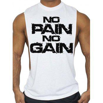 No Pain No Gain Bodybuilding Tank Top - WHITE WHITE