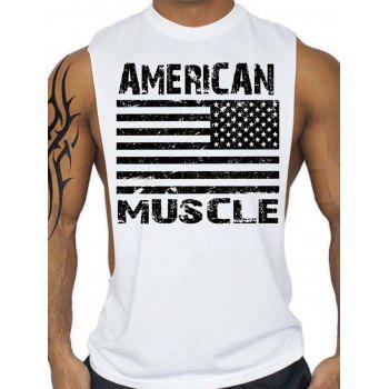 Workout Muscle Patriotic American Flag Tank Top - WHITE WHITE