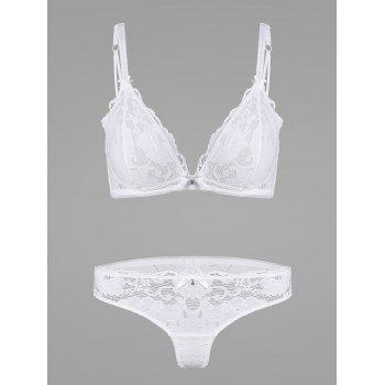 Lace Crochet Panel Lingerie Bra Set - WHITE 75B