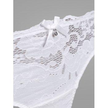 Lace Crochet Panel Lingerie Bra Set - WHITE WHITE