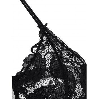 Lace Crochet Panel Lingerie Bra Set - 75B 75B