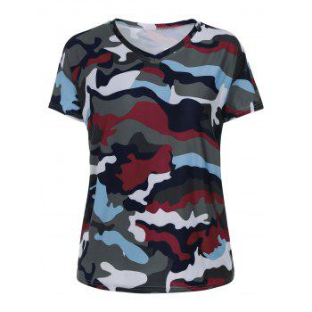Plus Size Camouflage Print V Neck T-shirt