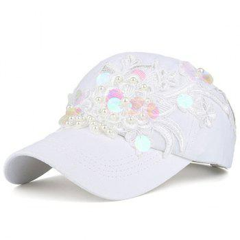 Sequin Lacework Floral Faux Pearl Baseball Cap