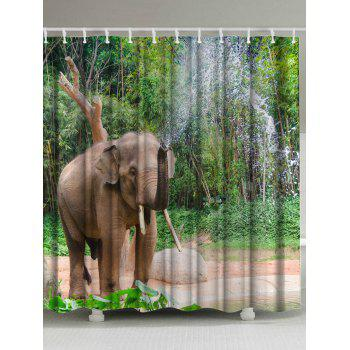 Extra Long Spray Water Elephant Shower Curtain
