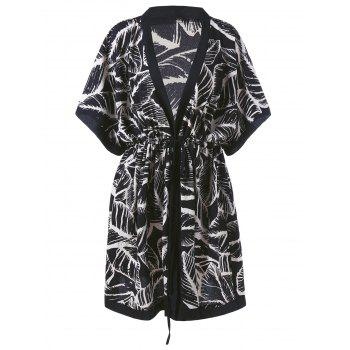 Plus Size V Neck Leaf Printed Kimono Dress