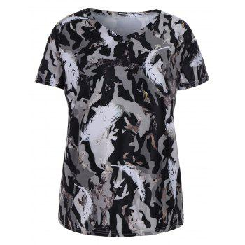 Plus Size Feather Camo Printed T-shirt