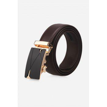 Triangle Bulge Auto Buckle Faux Leather Belt - BROWN BROWN