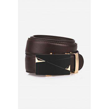 Triangle Bulge Auto Buckle Faux Leather Belt - BROWN
