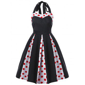 Vintage Halter Polka Dot Bowknot Swing Dress