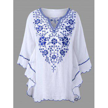 Scalloped Hem Embroidered Plus Size Blouse