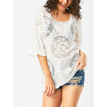 Openwork Crochet Lace Embellished Tunic Blouse