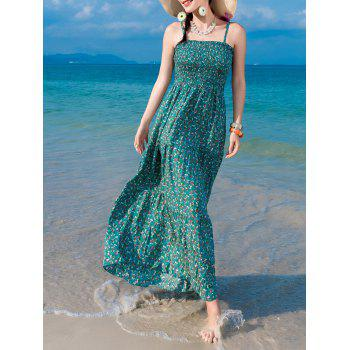 Chiffon Tiny Floral Shirring Slip Maxi Dress