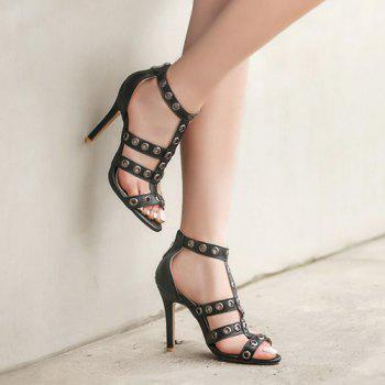 T Bar Eyelets Zipper Sandals
