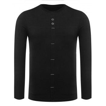 Crew Neck Long Sleeve Button Embellished Tee