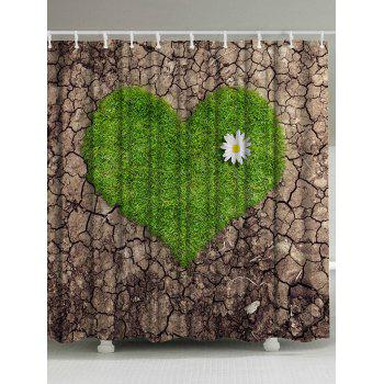 Crack Love Heart Polyester Fabric Shower Curtain