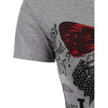 Beaded Butterfly Print Fitted T Shirt - GRAY S