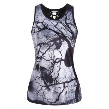 3D Skull Print Cut Out Tank Top