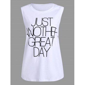 Plus Size Great Day Letter Simple Tank Top