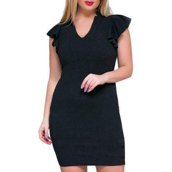 Plus Size V Neck Ruffle Sheath Dress