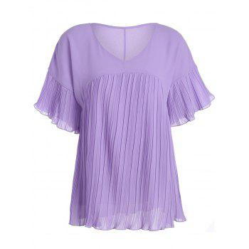 Pleated Chiffon Tunic Blouse