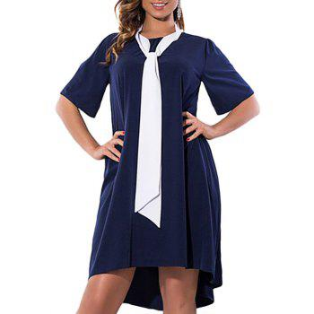 Plus Size High Low Dress with Pussy Bow Scarf