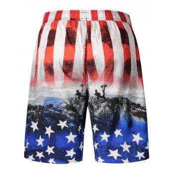Star and Stripe Print Board Shorts - RED 2XL