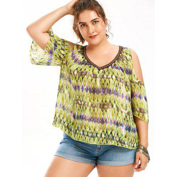 Snake Print Cold Shoulder Plus Size Blouse - LIGHT YELLOW XL