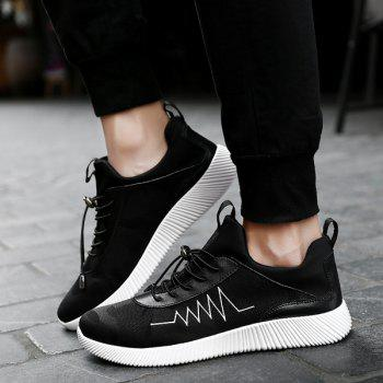 Print String Breathable Athletic Shoes - BLACK 42