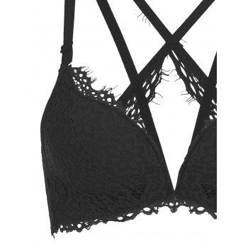 Strappy Lace Push Up Bra Set - BLACK 75A