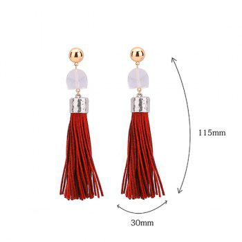 Resin Tassel Geometric Drop Earrings - WINE RED