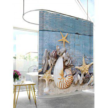 Fabric Shower Curtain with Beach Conch Print - BLUE GRAY W71 INCH * L79 INCH