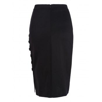 High Waisted Button Design Bodycon Skirt - BLACK ONE SIZE