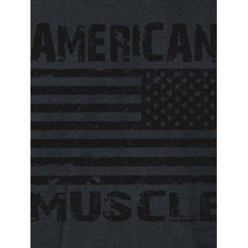 Workout Muscle Patriotic American Flag Tank Top - BLACK L