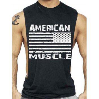 Workout Muscle Patriotic American Flag Tank Top - DEEP GRAY DEEP GRAY