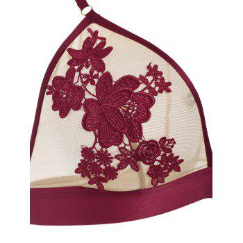Flower Embroidered Lingerie Bra Set - RED 75A